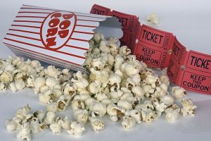 cyber security movies and popcorn with ticket stubs red and white