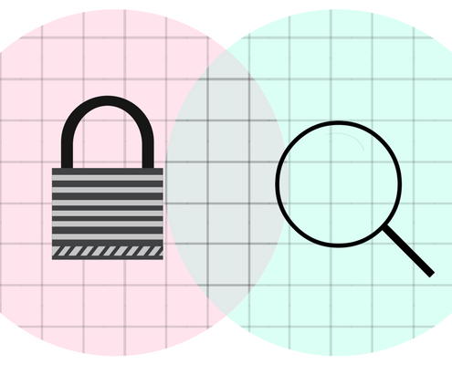 search engine magnifying glass and a lock security overlapping venn diagram